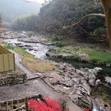 ベランダから音信川を眺める