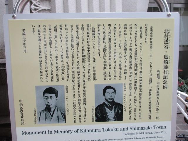 写真:島崎藤村 北村透谷記念碑
