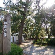 大きな花時計のある松原公園
