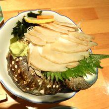 夜光貝のお刺身。