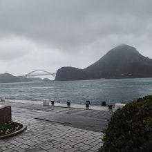 対岸は天草の大矢野島と天門橋。この海にスナメリが!