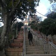 長い階段の先には、市内一望とお猿さん