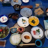 朝食。卵料理はテーブルでセルフ。