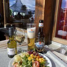 サラダ(小)、ビール、白ワイン