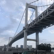 レインボーブリッジは橋の両端にエレベーターがあり、徒歩、自転車でも無料で渡れる
