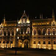 美しいブタペストの夜景を象徴する建物の1つ国会議事堂 (ブダペスト)