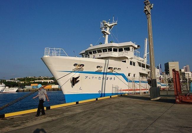 宮古島と多良間島をつなぐフェリー、伊良部大橋の下ギリギリを通過。