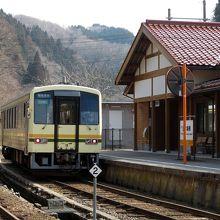 出雲坂根駅にて。