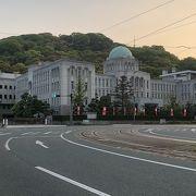 県庁と松山城といよでんで1枚の写真を