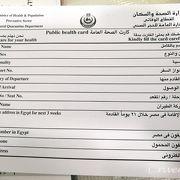 カイロ空港到着で渡されるヘルスチェック表