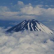 飛行機のなかから見える富士山