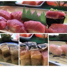 マグロづくしはじめいただいたお寿司の数々