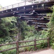 緑深い渓谷に架かる珍しい感じの橋でした。