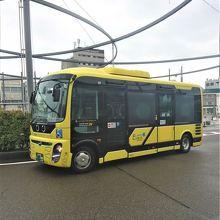可愛いサイズの電気バスも走っている