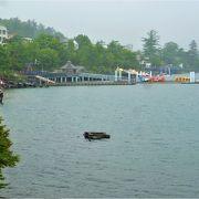温泉で新緑の湖岸が一面の中禅寺湖
