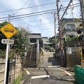 江ノ電の踏切越しに山門が見られる