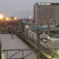 駅の改札を出た所から見たホテル(右正面)