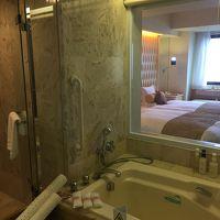 バスルームからのベッドルーム。カーテンはあります。