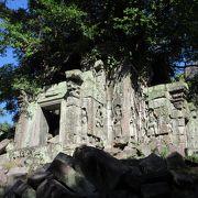 密林の中に発見された当時の姿が残り、女神像も見られました。美しいナーガがあります。