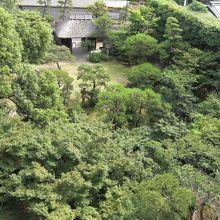 部屋からは庭園が見渡せ遠くには松山城も見えます