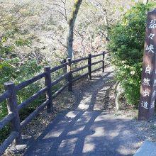 新秋保橋そばにある自然歩道入口。