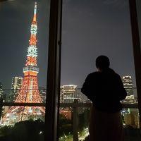 バルコニーから東京タワーを眺める妻。