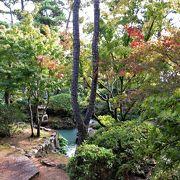 大原家ゆかりの別荘は広い和室で無料です。庭は緑が豊かで旅の疲れを癒せました。