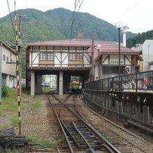 踏切から見た駅舎