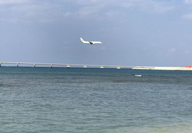 目の前は那覇空港で飛行機の離発着が見える