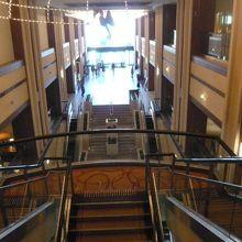 ロイヤルパインズホテルの2階から1階を見ています。格調高い。