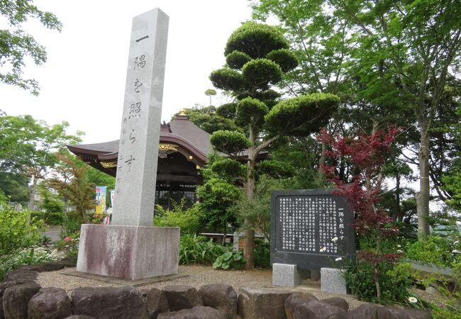 お寺の敷地のなだらかな丘陵地帯にアジサイが咲き誇る