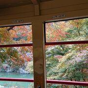 列車の窓から紅葉と山川の景色を楽しめました