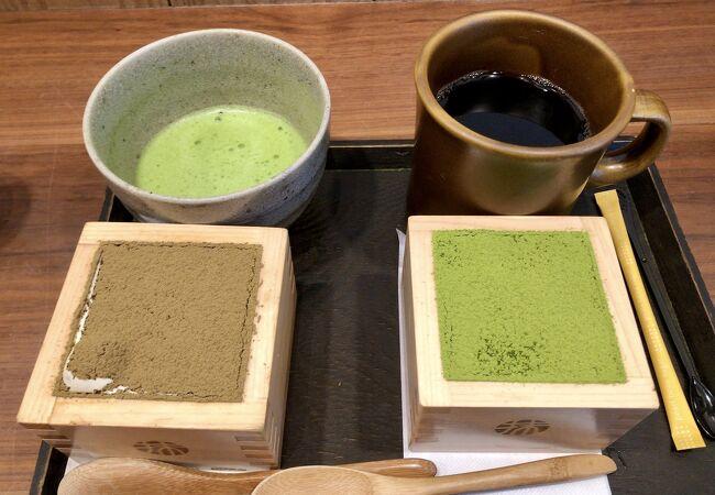 抹茶ティラミスと、焙じ茶ティラミス