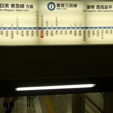 大手町駅の都営三田線路線図