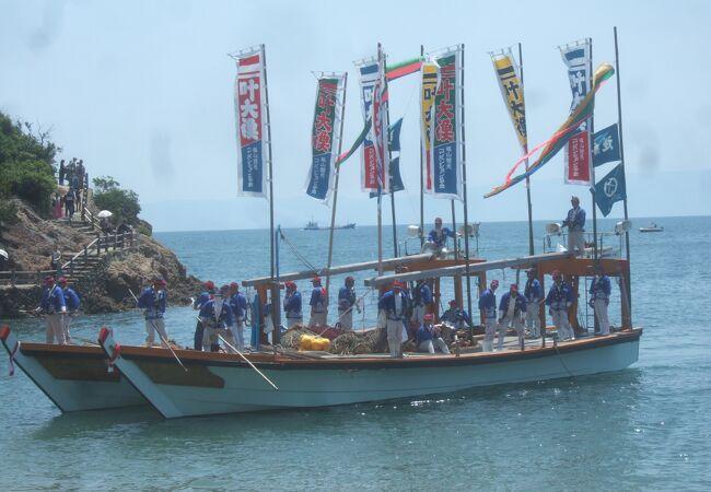 鞆の浦に伝わる伝統漁法のデモを見れました。