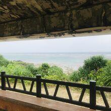東屋から見た海