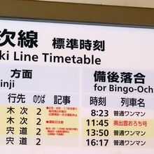 運行本数が少なすぎて簡略化された時刻表