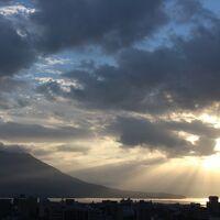 朝日&桜島をしばらく眺めました