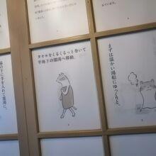 脱衣所の壁にはかわいい猫の絵で温泉の説明があります