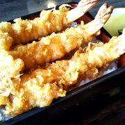 大きな海老を使用した「海老天丼」