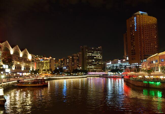 シンガポールの夜の観光地