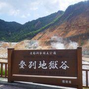 山肌から噴煙が上がっていました