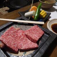 夕食(溶岩焼きの豊後牛)