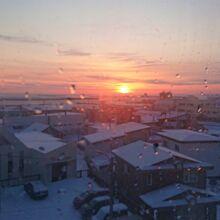 朝陽が見える