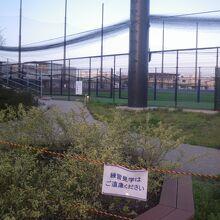 フェンス際の練習見学施設は未開放