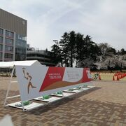 オリンピック聖火リレーの到着地点で、スタッフがその準備に追われていました