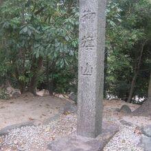 山頂付近に建つ石碑の様子
