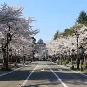道の向こうに鶴ヶ城がよく見えました
