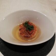 六穀米の焼きリゾット 緑茶のスープ