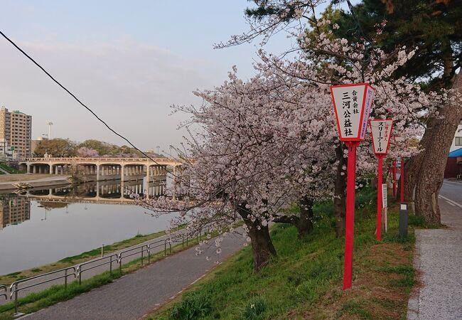 四月上旬の早朝に東岡崎駅付近から、岡崎公園前駅付近まで散策
